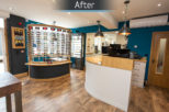 Industrial opticians reception area interior design by Mewscraft
