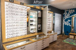 Bespoke display joinery by Mewscraft for Opticians retail refurbishment