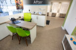 Dispensing area for opticians window by Mewscraft 1 with green chairs
